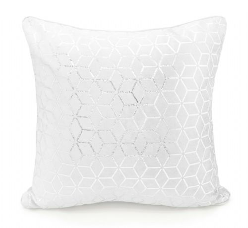 Large Geometric Shimmer Glitzy Metallic Foil Print Design Filled Scatter Cushion White